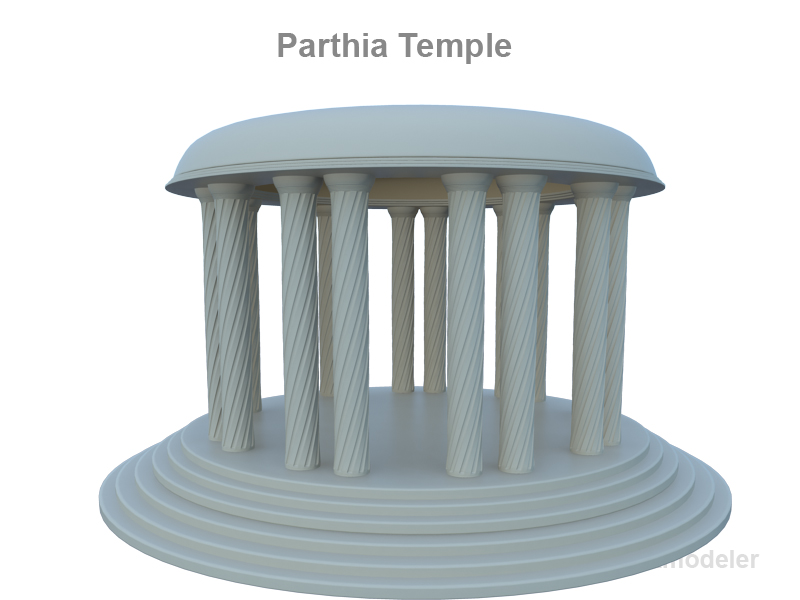 parthia temple 3d model 3ds fbx c4d lwo ma mb obj 124687
