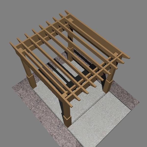 pergola 1 freestanding 3d model 3ds dxf x cod scn obj 133187