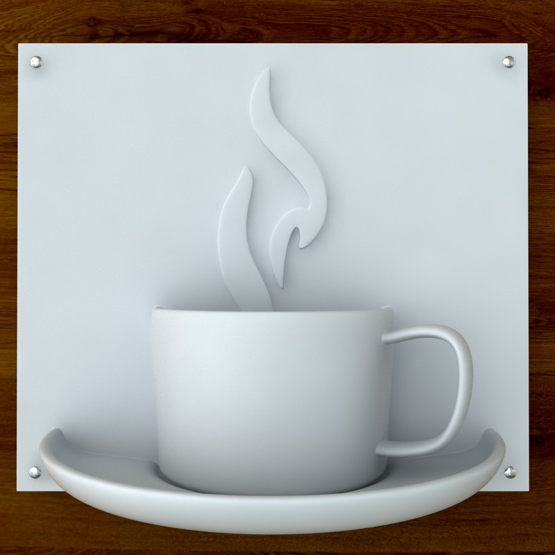 printable coffee sign stl obj 3d model  obj 125262