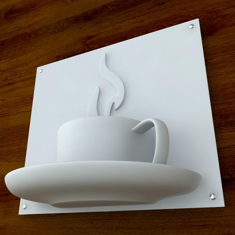printable coffee sign stl obj 3d model  obj 125264