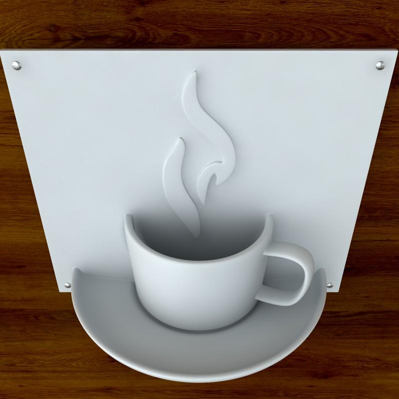 printable coffee sign stl obj 3d model  obj 125265