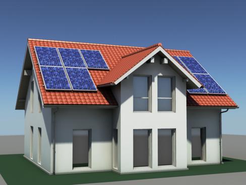residential solar house 3d model 3ds max lwo obj 127840