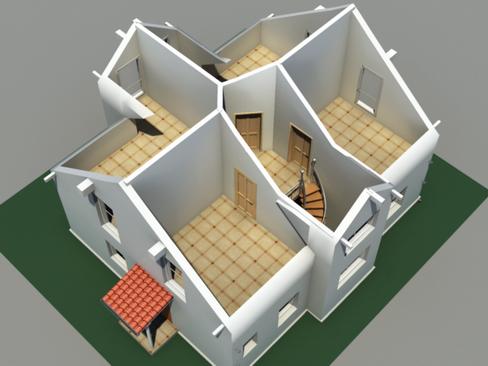 residential solar house 3d model 3ds max lwo obj 127845