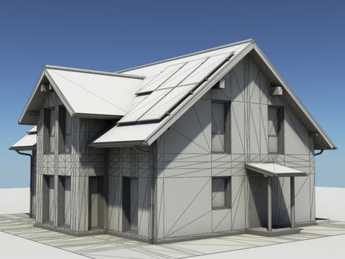 residential solar house 3d model 3ds max lwo obj 127846