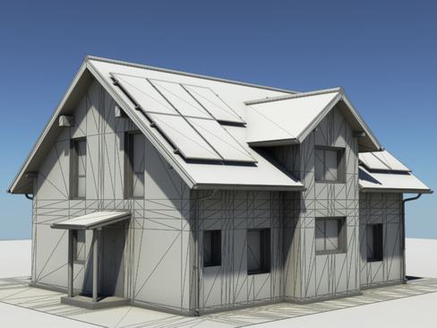 residential solar house 3d model 3ds max lwo obj 127847
