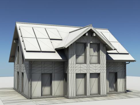 residential solar house 3d model 3ds max lwo obj 127848