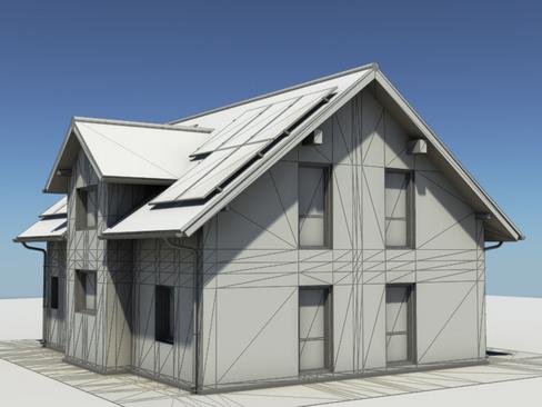 residential solar house 3d model 3ds max lwo obj 127849