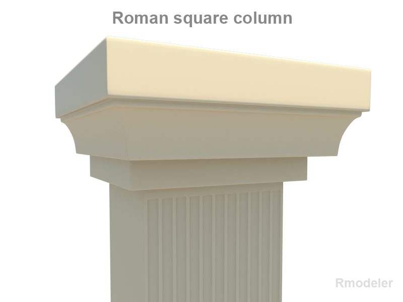 roman square column 3d model 3ds fbx c4d lwo ma mb hrc xsi obj 119821