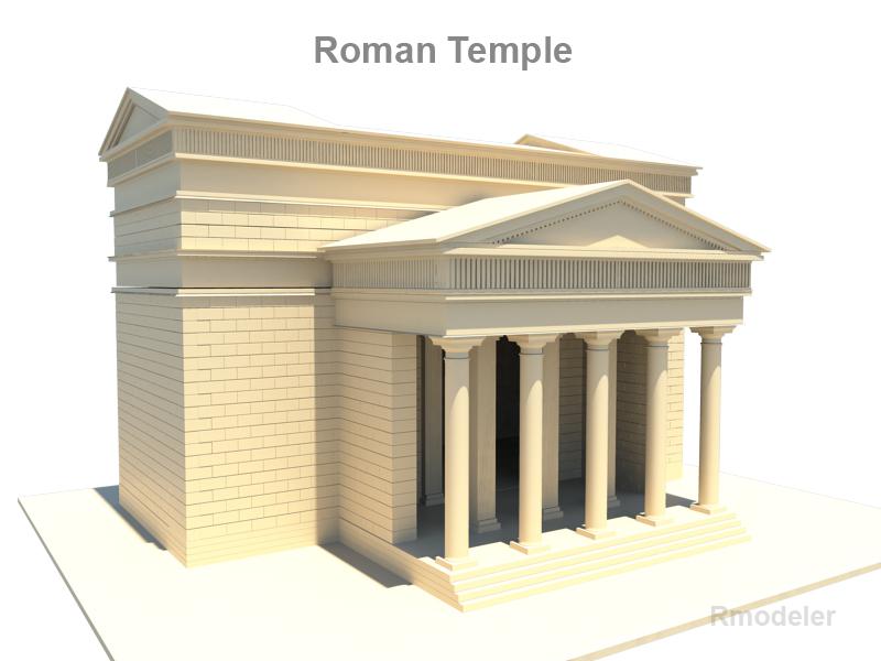 roman temple 3d model 3ds fbx c4d lwo ma mb hrc xsi obj 119709