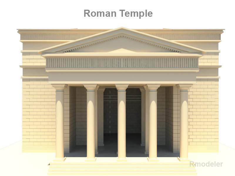 roman temple 3d model 3ds fbx c4d lwo ma mb hrc xsi obj 119710