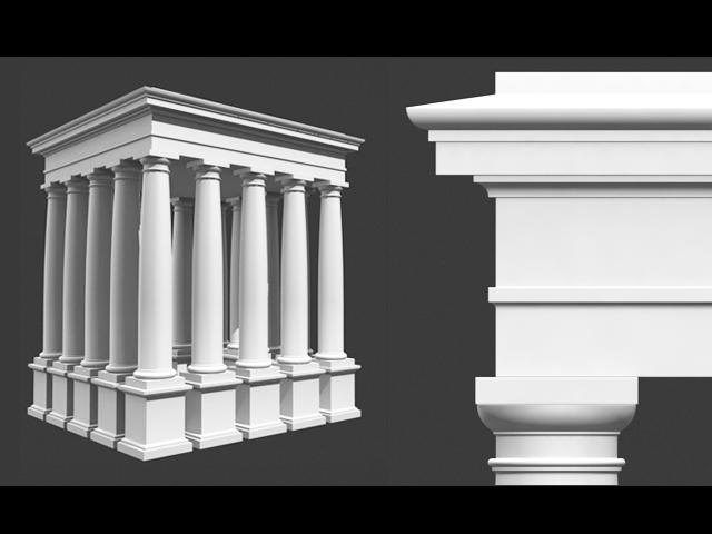 roman tuscan column entablature & pedestal 3d model 3ds dxf fbx c4d obj 122707
