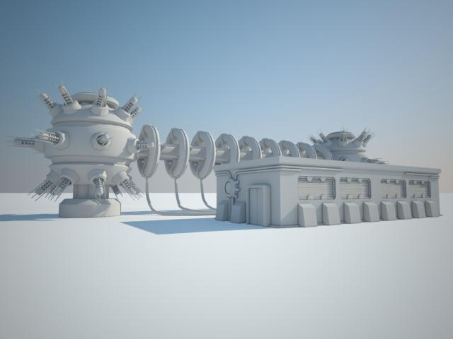 sci fi building 13 3d model 3ds max fbx obj 119932
