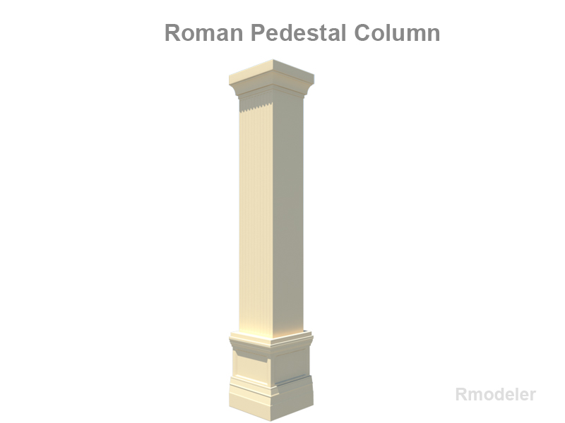 square column pedestal 3d model 3ds fbx c4d lwo ma mb obj 124758