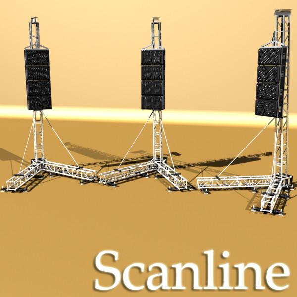 stage speaker truss high detail 3d model 3ds max fbx obj 130924
