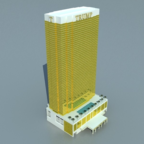 trump international hotel high detail 3d model max fbx obj 130114