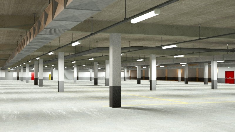 underground parking garage 02 3d model 3ds max fbx obj 164291