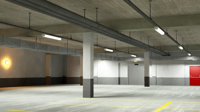 underground parking garage 02 3d model 3ds max fbx obj 164294