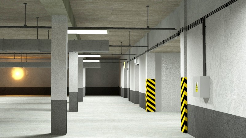 underground parking garage 02 3d model 3ds max fbx obj 164295