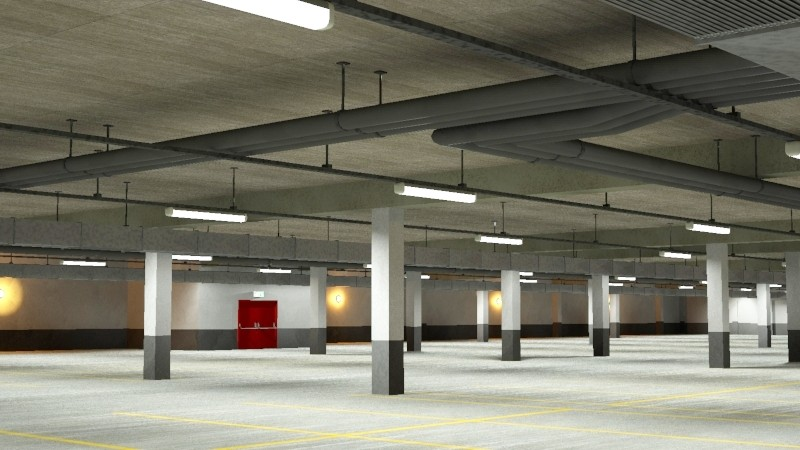 underground parking garage 02 3d model 3ds max fbx obj 164296