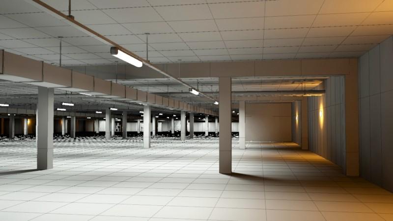 Underground Parking Garage 02 3D Model