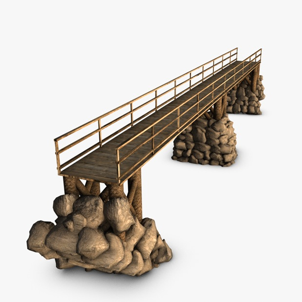 wood bridge stone supports 3d model 3ds max fbx c4d obj 138723