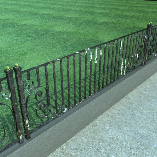 wrought iron fence 01 high res 3d model 3ds max fbx obj 131888