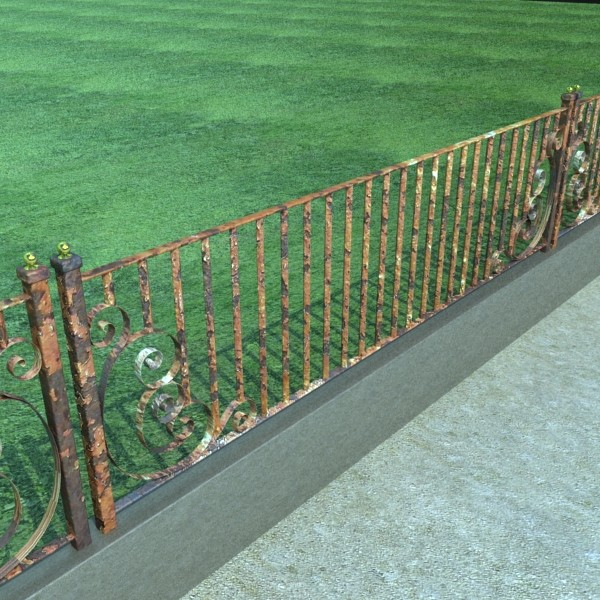 wrought iron fence 01 high res 3d model 3ds max fbx obj 131890