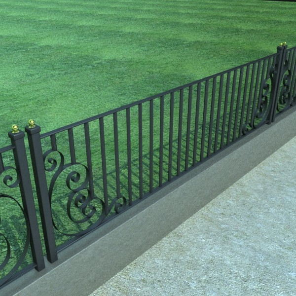 wrought iron fence 01 high res 3d model 3ds max fbx obj 131892