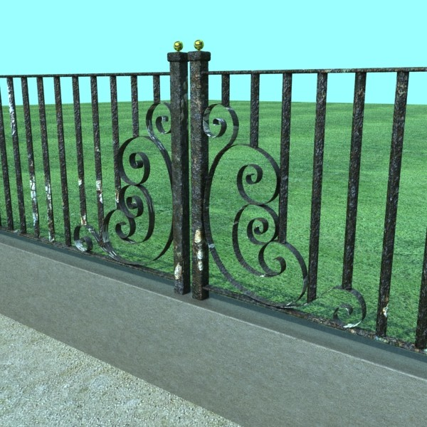 wrought iron fence 01 high res 3d model 3ds max fbx obj 131894