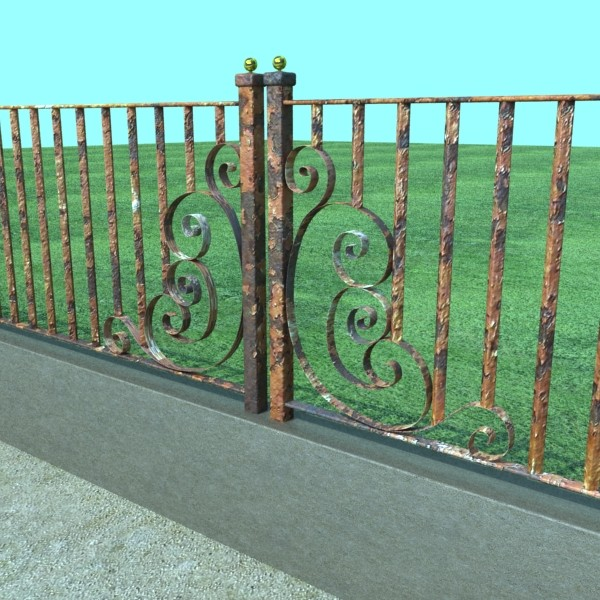 wrought iron fence 01 high res 3d model 3ds max fbx obj 131895