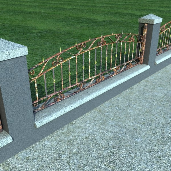 wrought iron fence 03 high res 3d model 3ds max fbx obj 131921