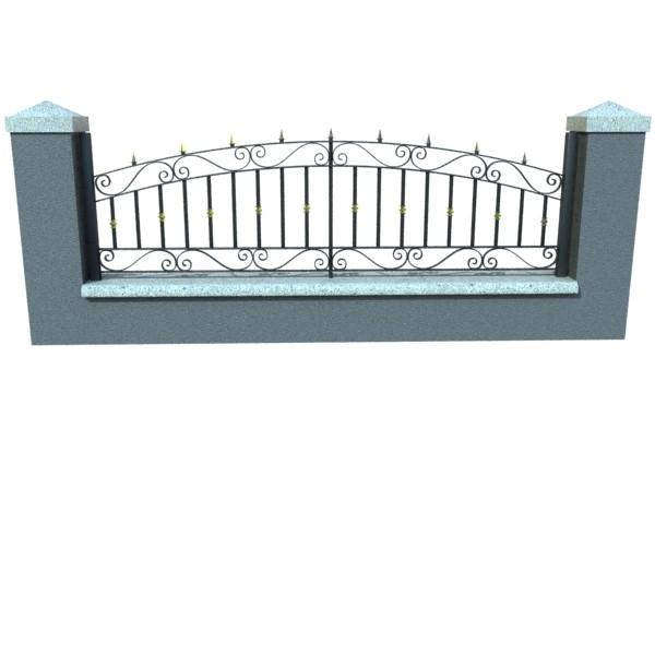 wrought iron fence 03 high res 3d model 3ds max fbx obj 131923