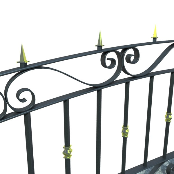wrought iron fence 03 high res 3d model 3ds max fbx obj 131924