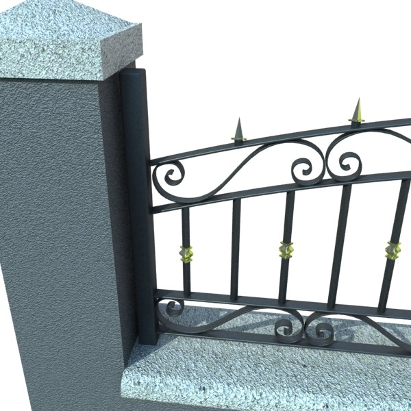 wrought iron fence 03 high res 3d model 3ds max fbx obj 131925