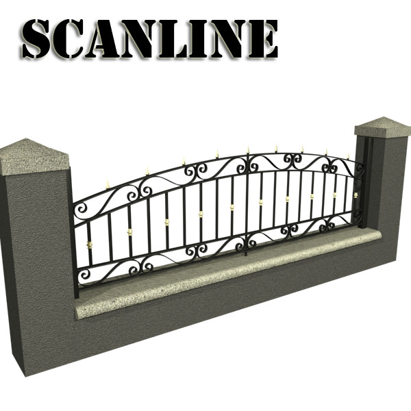 wrought iron fence 03 high res 3d model 3ds max fbx obj 131926