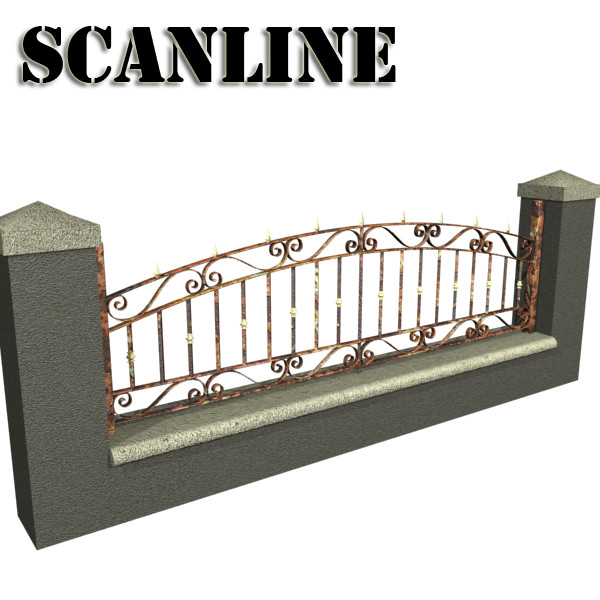 wrought iron fence 03 high res 3d model 3ds max fbx obj 131927