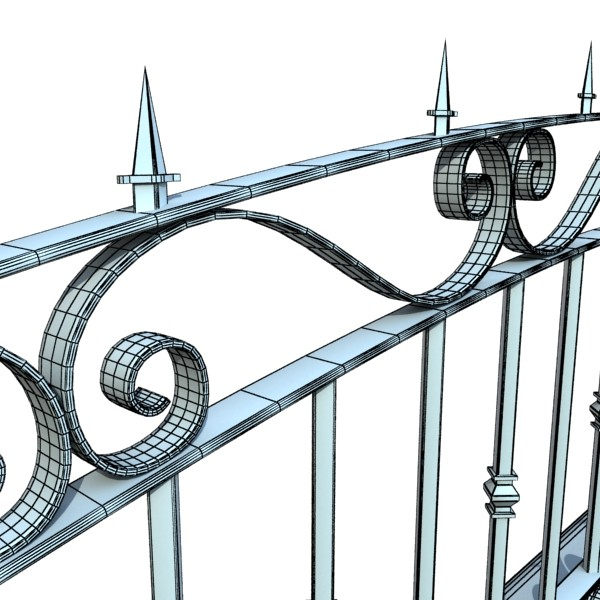 wrought iron fence 03 high res 3d model 3ds max fbx obj 131930