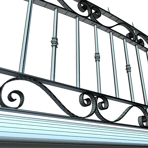 wrought iron fence 03 high res 3d model 3ds max fbx obj 131931