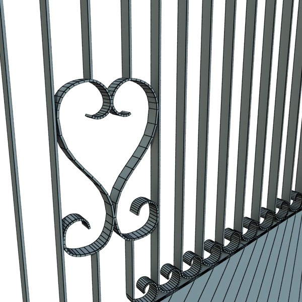 wrought iron gate 01 3d model 3ds max fbx obj 131936