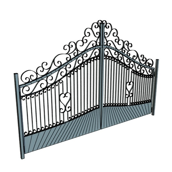wrought iron gate 01 3d model 3ds max fbx obj 131945