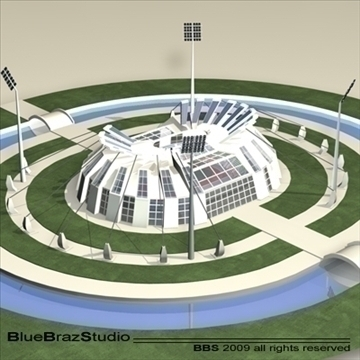 athletic stadium 3d model 3ds dxf c4d obj 95844