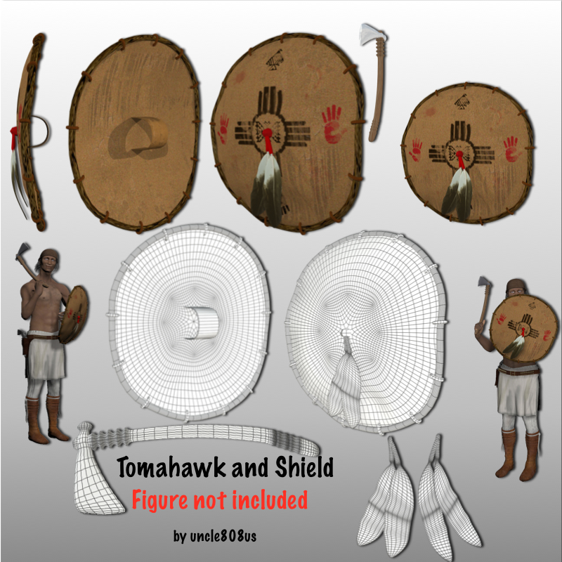 tomahawk and shield 3d model obj 150982