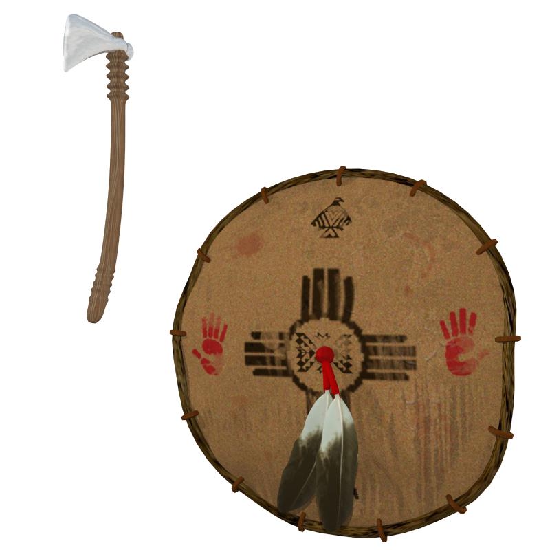 tomahawk i štit 3d model obj 150984