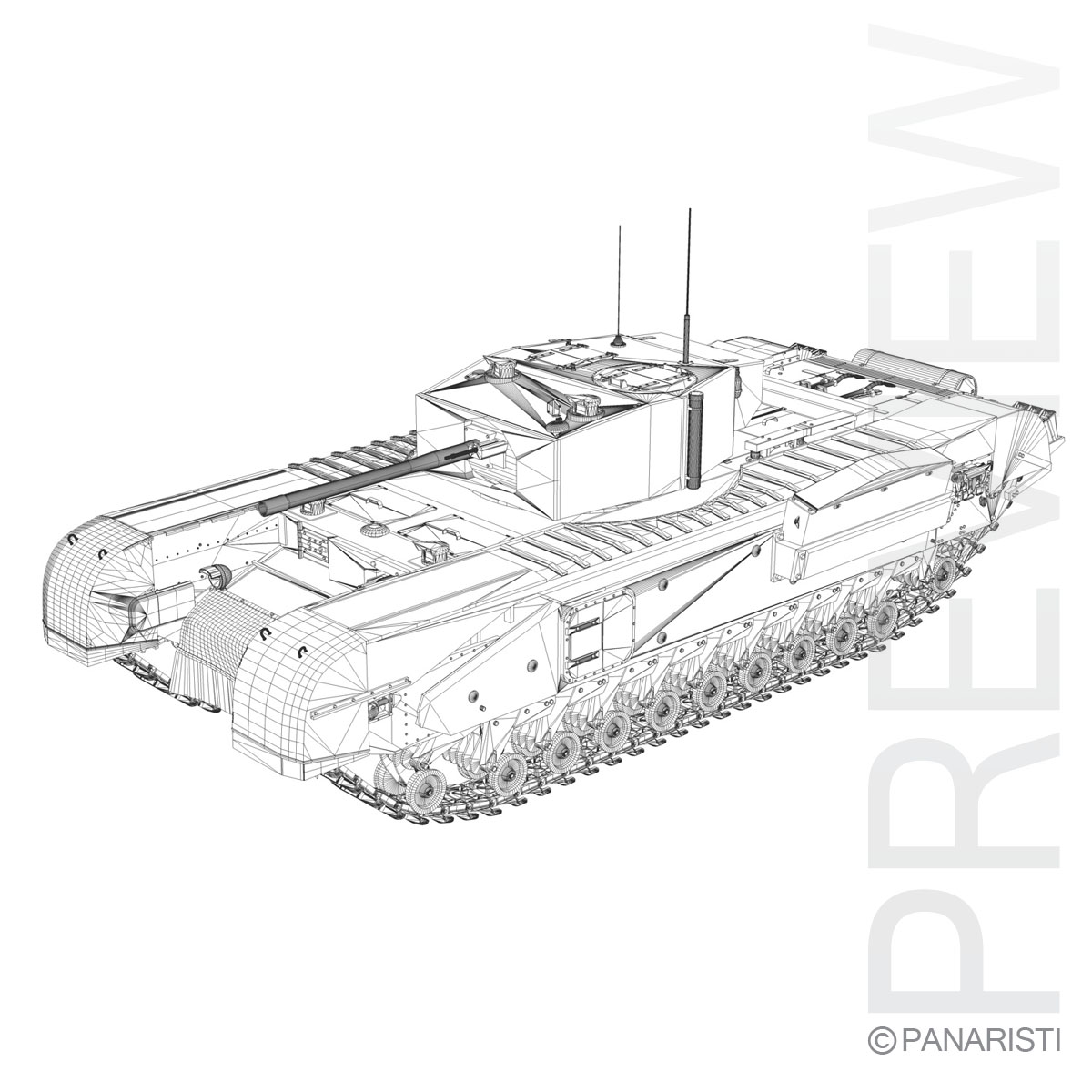 churchill mk.iii kingforce 3d model 3ds c4d lwo obj 150510