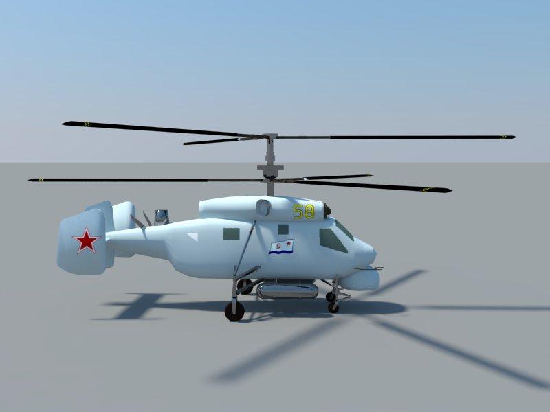 helicopter kamov ka-25 3d model 3ds dxf dwg skp obj 163574