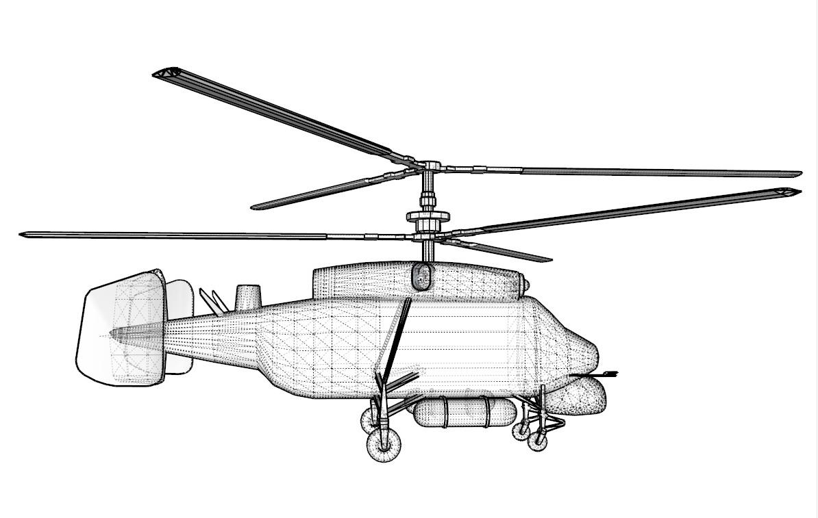 helicopter kamov ka-25 3d model 3ds dxf dwg skp obj 163577