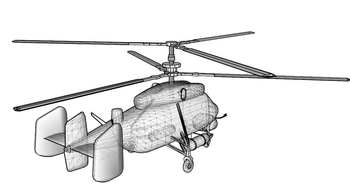 helicopter kamov ka-25 3d model 3ds dxf dwg skp obj 163579