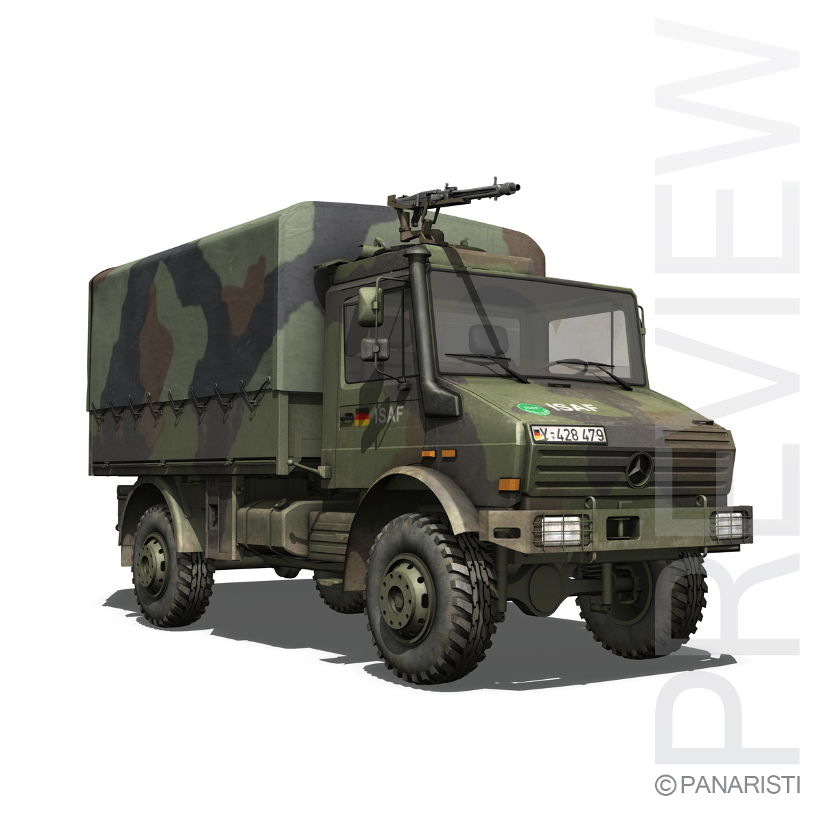 mercedes benz unimog u1300 german army 3d model 3ds c4d lwo obj 94261