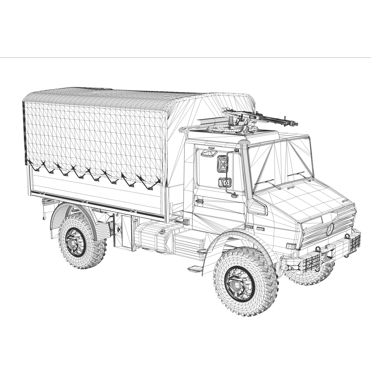 mercedes benz unimog u1300 german army 3d model 3ds c4d lwo obj 94269