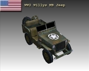 ww2 Americanaidd willys mb jeep model 3d 3ds max x lw m a n objjX